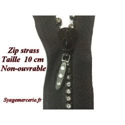 Zip Strass En 10 Cm Non-Ouvrable, à coudre, pour loisirs Créatifs, customisations.
