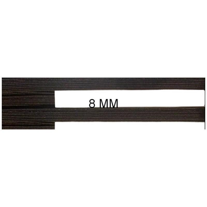 Elastique Plat 8 mm Blanc ou Noir X 50 Mètres, A Coudre
