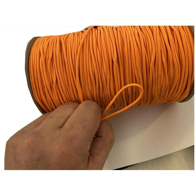 Cordon Elastique Orange Rond En 3 mm A Coudre Pour Loisirs Créatifs.
