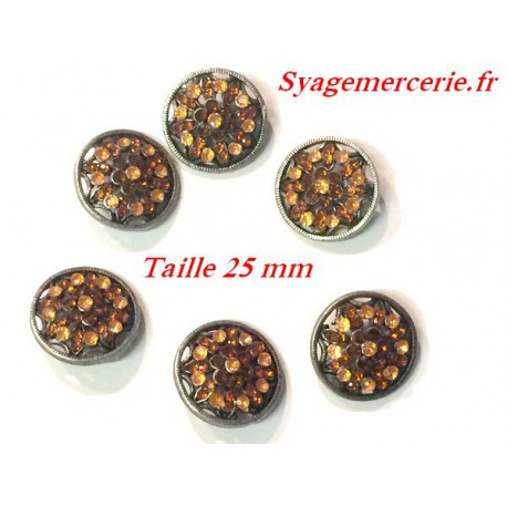 Bouton strass en Taille 25 mm x 6 Piéces