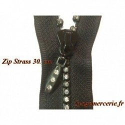 Zip Strass en 30 Cm Noir,Fermeture Eclair ,Non-Ouvrable, A Coudre.