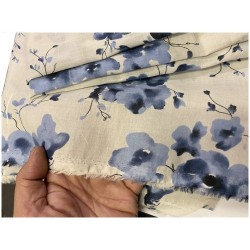 Tissu Voile De Coton Imprimé Fleurs Bleu Indigo Au Mètre En Grande Largeur