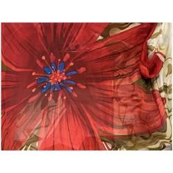 Tissu Mousseline De Soie Imprimé En Motif Fleurs Au Mètre Couture