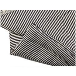 Tissu Coton Marine Imprimé Fine Rayure Au Mètre En Grande Largeur