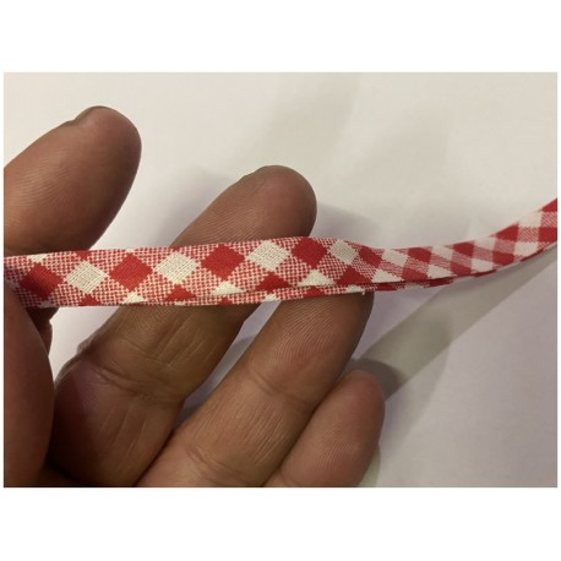 Biais Coton Replié Imprimé Vichy Rouge Pour Loisirs Créatifs