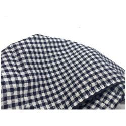 Tissu Coton A Carreaux Imprimé Bleu Marine Sur Fond Blanc Au Mètre En Grande Largeur