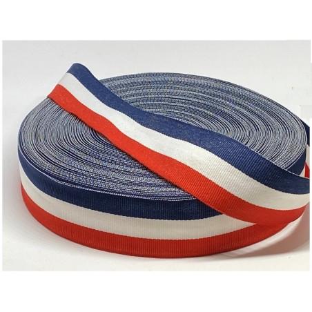Ruban Tricolore 33 MM Au Mètre - Ruban Tissu Drapeau Bleu Blanc Rouge A Coudre