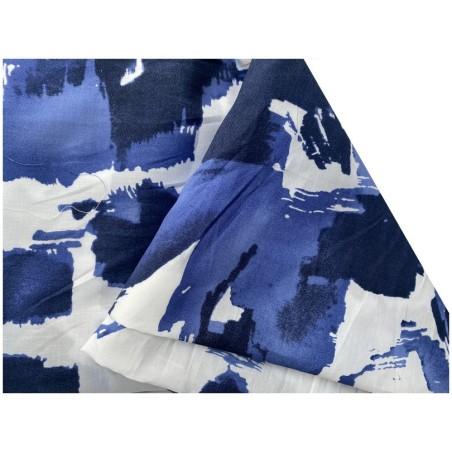 Tissu Voile De Coton Imprimé Bleu Au Mètre En Grande Largeur