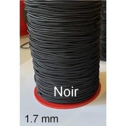 Cordon Lacet Elastique Noir Rond En 1.7 mm A Coudre Pour Loisirs Créatifs.