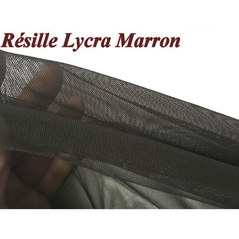 Tissu Résille Lycra au Mètre En Couleur Choco Négre Pour Justaucorps.