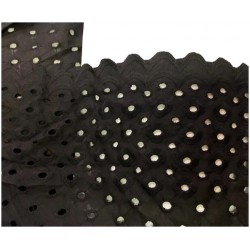 Broderie Anglaise Noir En Tissu Ajourée En Coton Au Mètre En Grande Largeur