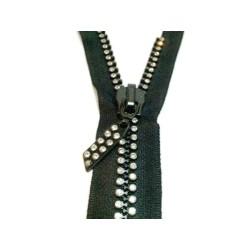 Fermetures double strass noir non-séparable en 35 cm