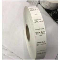 """Etiquette De Vêtements 100 % ACRYLIQUE x Par 2500 Pièces A Coudre De Composition Textile , Contexture """" FABRIQUE EN FRANCE """"."""
