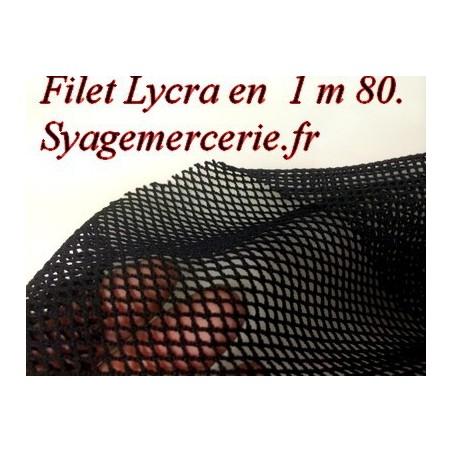 Tissu Filet Lycra au Mètre Noir en 1 m 80 de Large