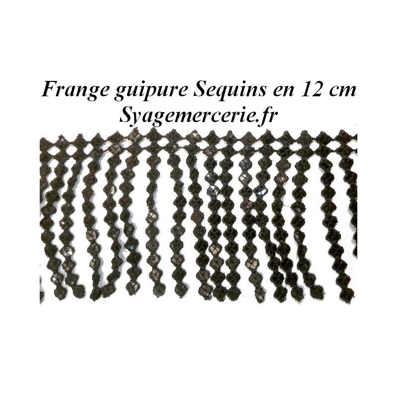 Frange Charleston En 12 Cm Noir Au Mètre En Guipure Sequins.