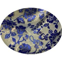 Tissu Velous Dévoré Couture Bleu Royal Au Mètre