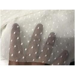 Tissu Tulle Résille plumetis Blanc Lycra Au Mètre Pour Mariage Et Décorations