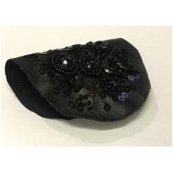 Motif Patch, Applique, Noir En Perles Et Sequins Sur Simili Cuir