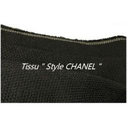 """Tissu Style """"Chanel"""" Au Mètre En Noir Piqué Haute Couture."""