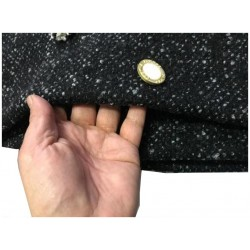 Tissu Laine et Mohair Noir au Mètre Haute Couture.
