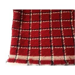 Tissu A Carreaux Rouge En Laine Au Mètre Couture.