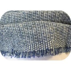 """Tissu Style """"Chanel"""" Tweed Bleu Ciel Au Mètre Haute Couture."""