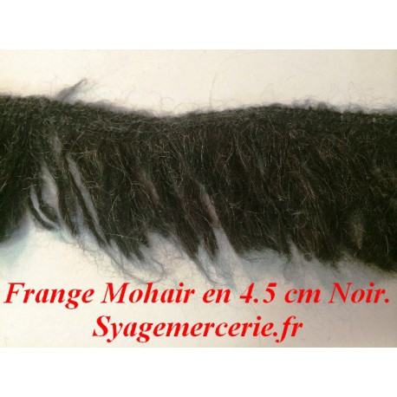 Frange Charleston au Mètre en Mohair en 4.5 cm noir