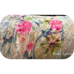 Tissu Résille Froissé Imprimé Fleurs en Lycra au Mètre