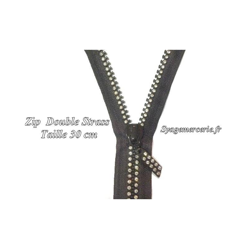 Fermetures Double Strass Noir Non-Séparable en 30 cm