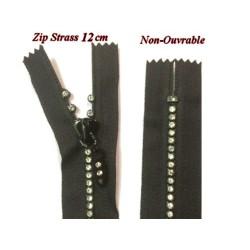 Zip Strass En 12 Cm Noir, Fermeture Eclair, Non-Ouvrable.