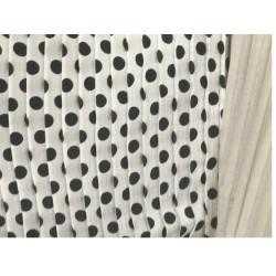 Tissu Plissé Blanc A Pois Noir Imprimé Au Mètre Couture