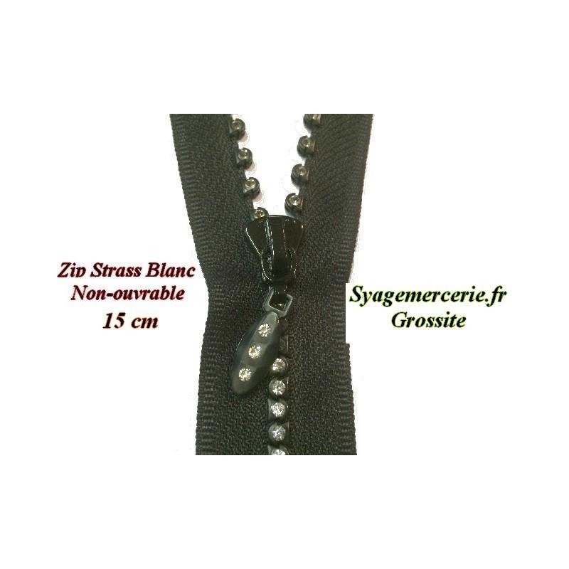 Zip strass en 15 cm Noir Non-Ouvrable, A Coudre.
