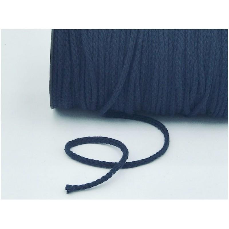 Cordon Coton Tréssé Bleu Marine Au Mètre