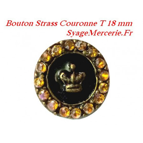 Bouton strass couronne Taille 18 mm x 6 pièces