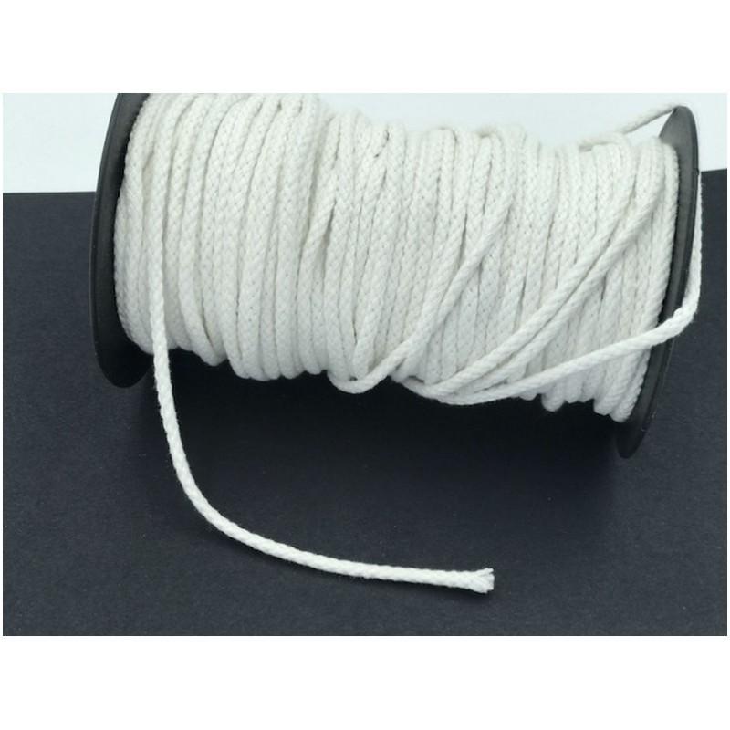 Cordon Coton Tréssé Blanc Au Mètre