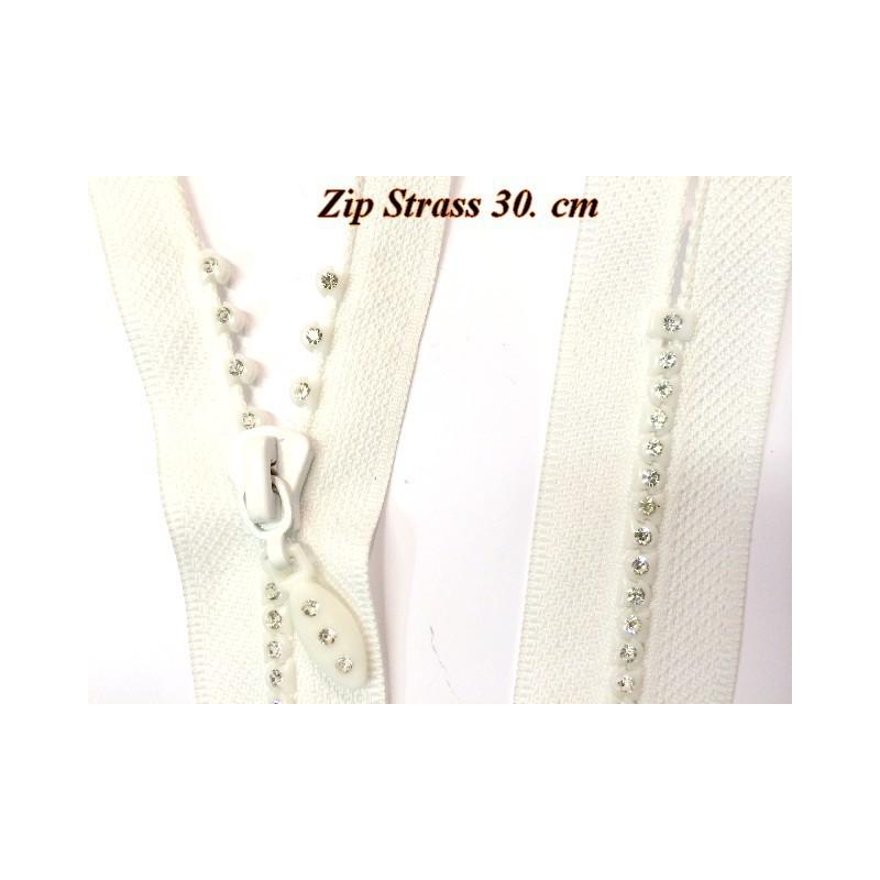 Zip Strass Blanc en 30 cm Non-Ouvrable. Blanc