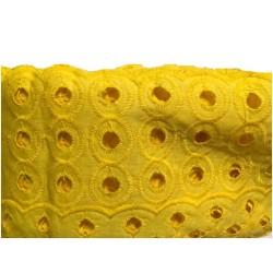 Broderie Anglaise jaune En Tissu Ajourée En Coton Au Mètre En Grande Largeur