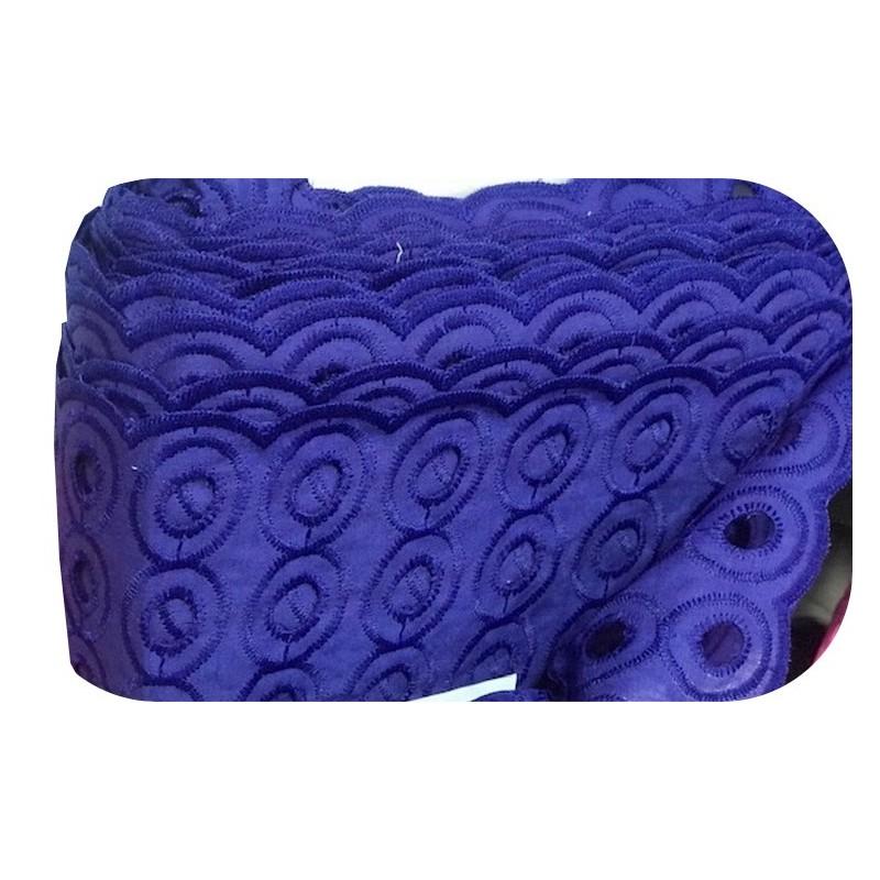 Broderie Anglaise Bleu indigo En Tissu Ajourée En Coton Au Mètre En Grande Largeur