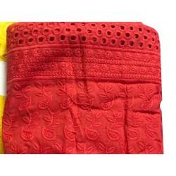 Broderie Anglaise Rouge En Tissu Coton Brodé Au Mètre En Grande Largeur