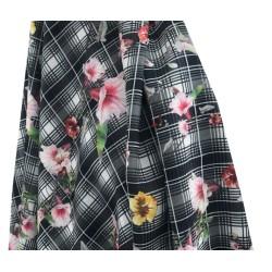 Tissu En Coton Lycra Imprimé Fleurs Au Mètre En Grande Largeur