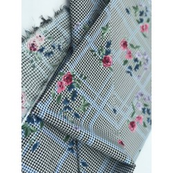 Tissu En Coton Lycra Imprimé Fleurs Prince de Galle Au Mètre En Grande Largeur