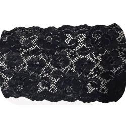 Dentelle brodé lycra en 18 cm Noir Couture pour lingerie