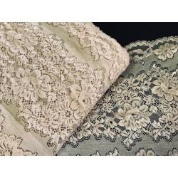 Dentelle brodé lycra en grande largeur couleur beige Couture