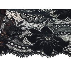 Dentelle de Calais brodée lycra en 14 cm Noir Couture pour lingerie