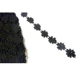 Galon Passementrie Fleurs Marguerite Noir en 15 mm A Coudre.
