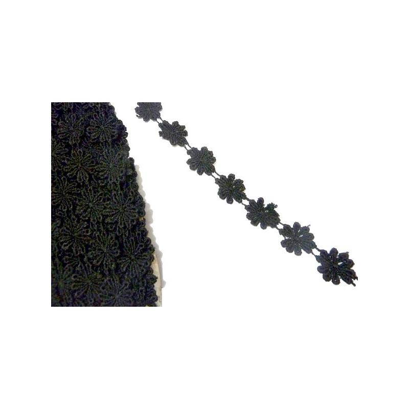 Galon Passementrie Fleurs Marguerite Noir En 2.5 Cm A coudre.