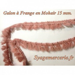 Galon Mohair au Mètre en Frange de 15 mm Vieux Rose