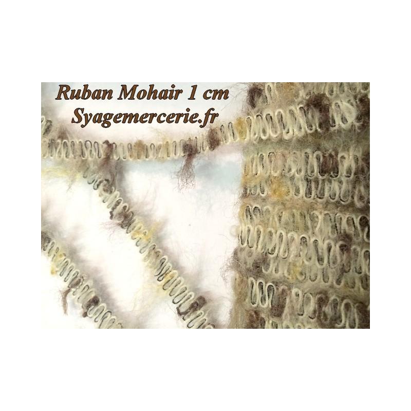 Ruban au mètre 1 cm en Mohair Beige et Marron-Choco