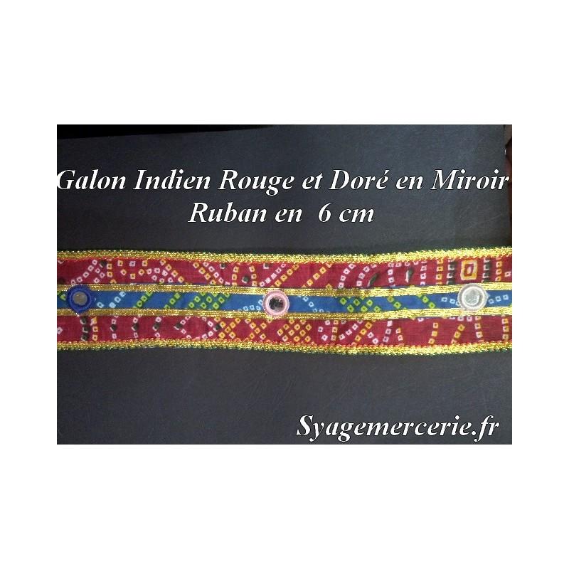 Galon Ruban Miroir En 6 Cm Rouge, Bleu et Doré.