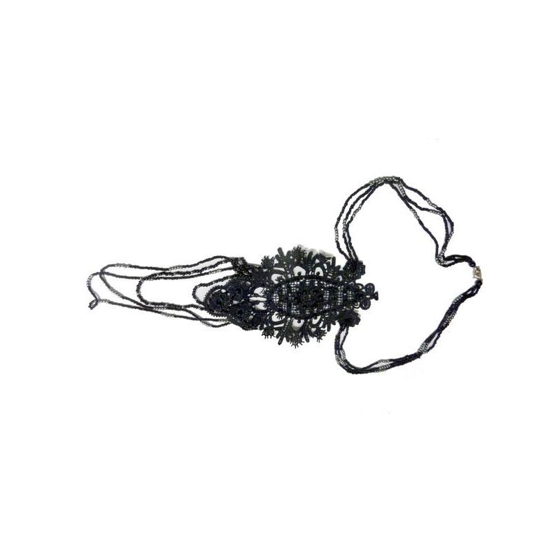 Motif En Dentelle Guipure Noir Et Perles A Coudre en Accessoires Collier